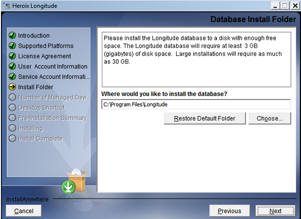 Longitude Database Installation directory